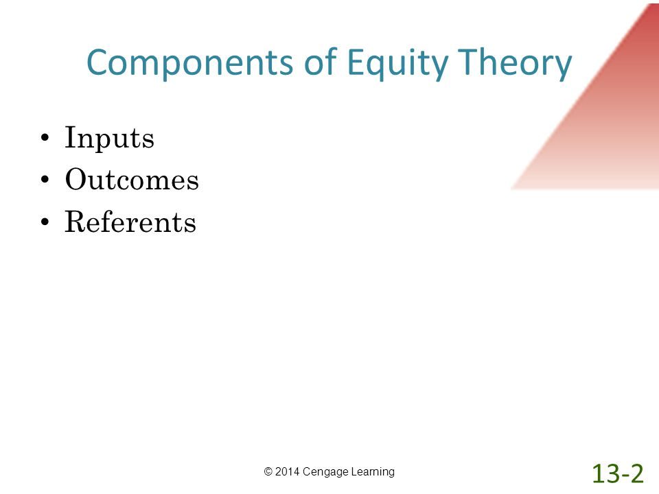 Components of Equity Theory Inputs Outcomes Referents © 2014 Cengage Learning 13-2