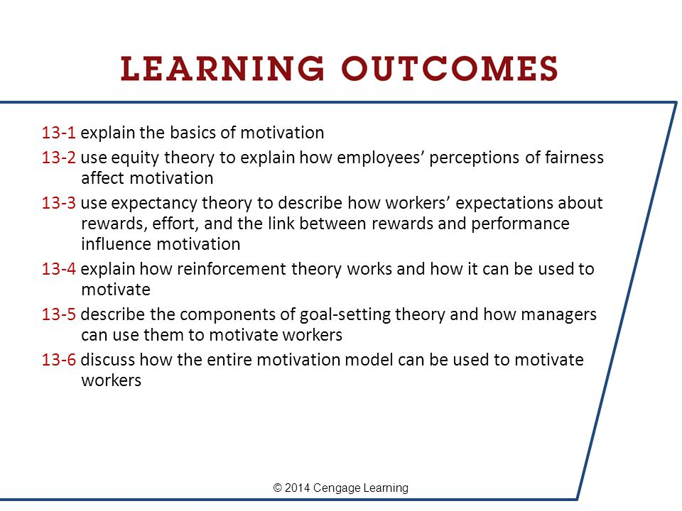 13-1 explain the basics of motivation 13-2 use equity theory to explain how employees' perceptions of fairness affect motivation 13-3 use expectancy t
