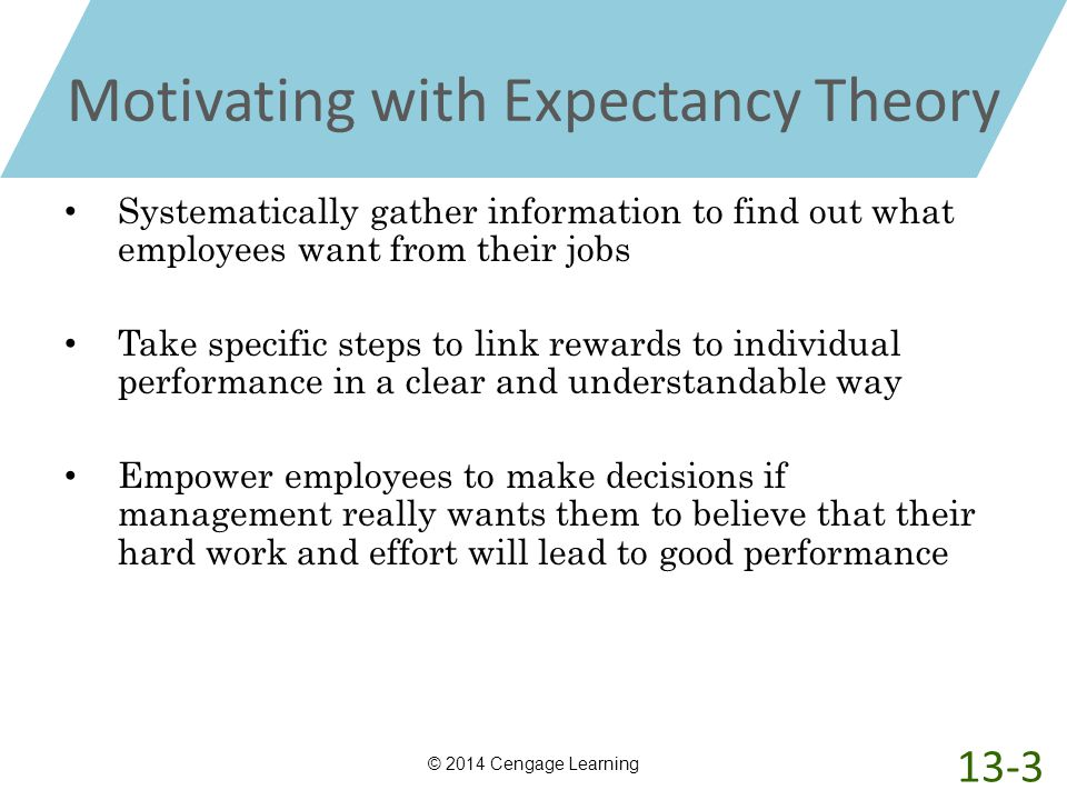 Motivating with Expectancy Theory Systematically gather information to find out what employees want from their jobs Take specific steps to link reward