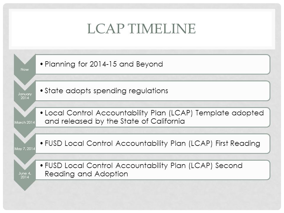 LCAP TIMELINE Now Planning for 2014-15 and Beyond January 2014 State adopts spending regulations March 2014 Local Control Accountability Plan (LCAP) Template adopted and released by the State of California May 7, 2014 FUSD Local Control Accountability Plan (LCAP) First Reading June 4, 2014 FUSD Local Control Accountability Plan (LCAP) Second Reading and Adoption