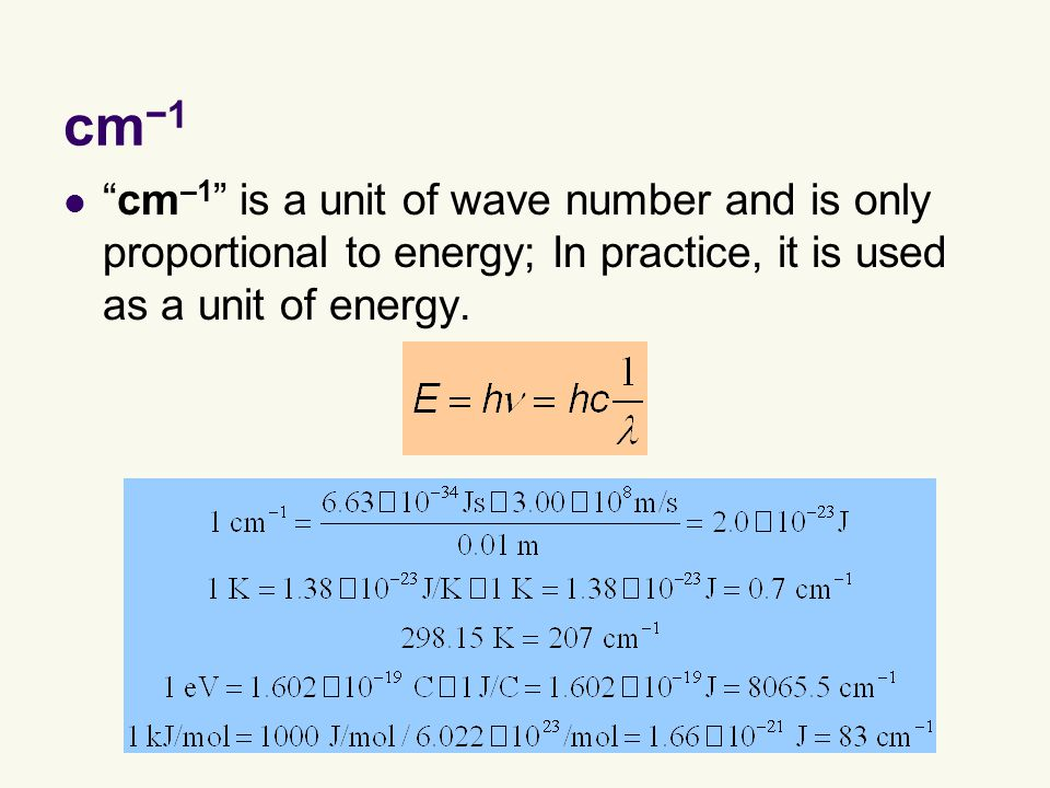 cm −1 cm –1 is a unit of wave number and is only proportional to energy; In practice, it is used as a unit of energy.