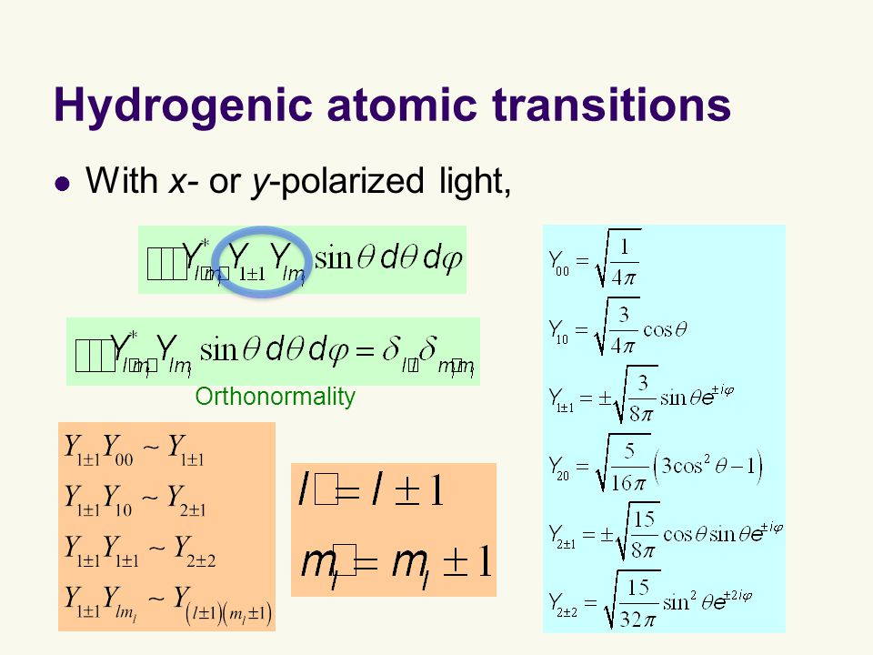 Hydrogenic atomic transitions With x- or y-polarized light, Orthonormality