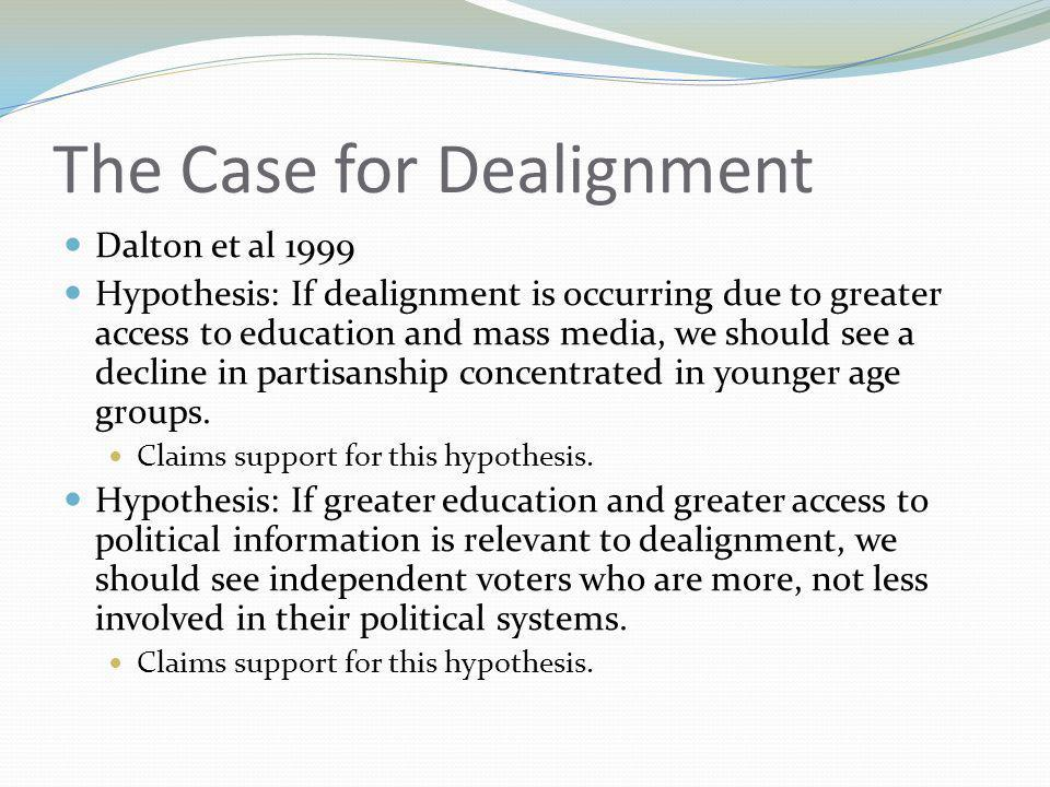Consequences of Dealignment: Electoral Participation Wattenberg 1999 Effects of weakening political parties should also be observed in terms of electoral participation.