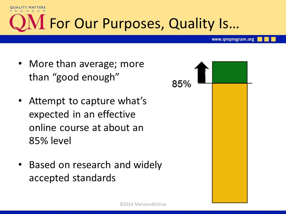"""For Our Purposes, Quality Is… More than average; more than """"good enough"""" Attempt to capture what's expected in an effective online course at about an"""