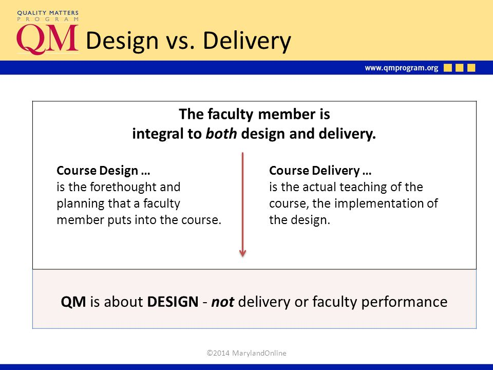 Design vs. Delivery The faculty member is integral to both design and delivery. QM is about DESIGN - not delivery or faculty performance Course Design