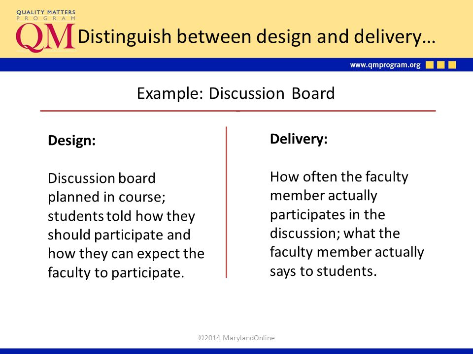 Distinguish between design and delivery… Example: Discussion Board Design: Discussion board planned in course; students told how they should participa