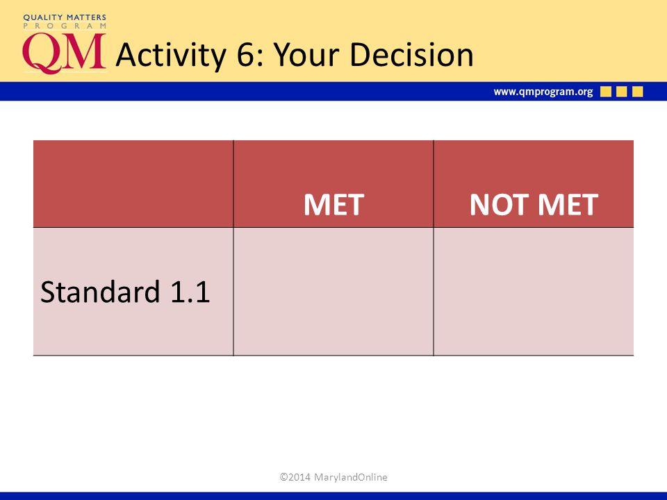 Activity 6: Your Decision METNOT MET Standard 1.1 ©2014 MarylandOnline