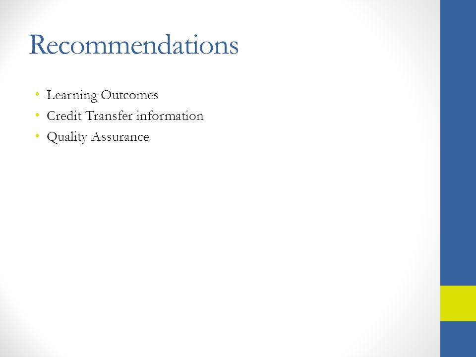 Recommendations Learning Outcomes Credit Transfer information Quality Assurance