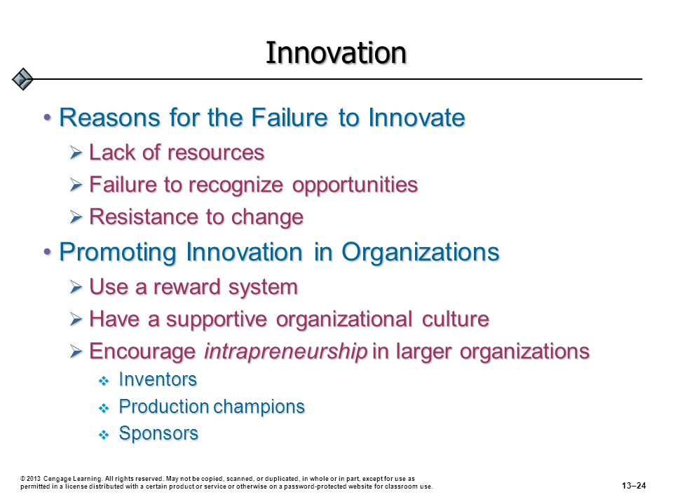 Innovation Reasons for the Failure to InnovateReasons for the Failure to Innovate  Lack of resources  Failure to recognize opportunities  Resistanc