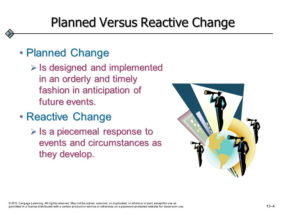 Planned Versus Reactive Change Planned ChangePlanned Change  Is designed and implemented in an orderly and timely fashion in anticipation of future e