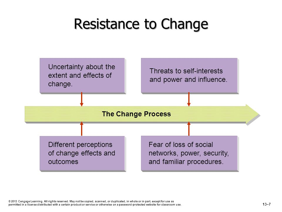 Resistance to Change Threats to self-interests and power and influence. Uncertainty about the extent and effects of change. The Change Process Fear of