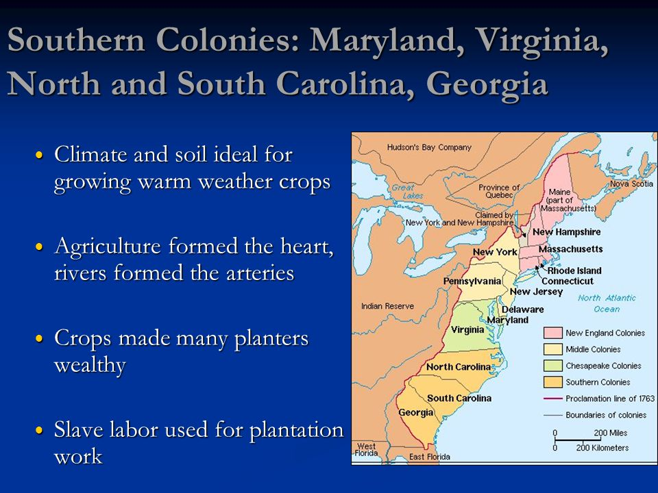 Southern Colonies: Maryland, Virginia, North and South Carolina, Georgia Climate and soil ideal for growing warm weather crops Climate and soil ideal for growing warm weather crops Agriculture formed the heart, rivers formed the arteries Agriculture formed the heart, rivers formed the arteries Crops made many planters wealthy Crops made many planters wealthy Slave labor used for plantation work Slave labor used for plantation work