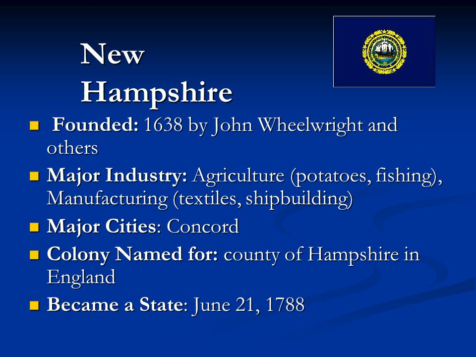 Founded: 1638 by John Wheelwright and others Founded: 1638 by John Wheelwright and others Major Industry: Agriculture (potatoes, fishing), Manufacturing (textiles, shipbuilding) Major Industry: Agriculture (potatoes, fishing), Manufacturing (textiles, shipbuilding) Major Cities: Concord Major Cities: Concord Colony Named for: county of Hampshire in England Colony Named for: county of Hampshire in England Became a State: June 21, 1788 Became a State: June 21, 1788 New Hampshire