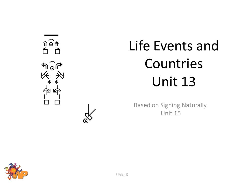 Life Events and Countries Unit 13 Based on Signing Naturally, Unit 15 Unit 13