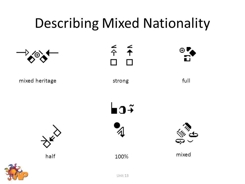 Describing Mixed Nationality Unit 13 mixed full half strong 100% mixed heritage