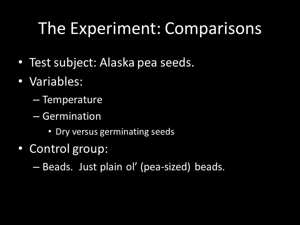 The Experiment: Comparisons Test subject: Alaska pea seeds.