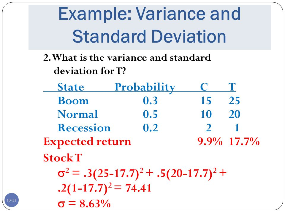 13-11 Example: Variance and Standard Deviation StateProbabilityCT Boom0.31525 Normal0.51020 Recession0.2 2 1 Expected return 9.9%17.7% 2.