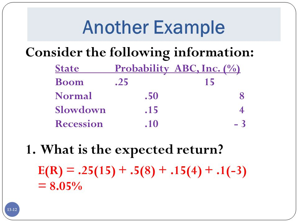 13-12 Another Example Consider the following information: StateProbabilityABC, Inc.
