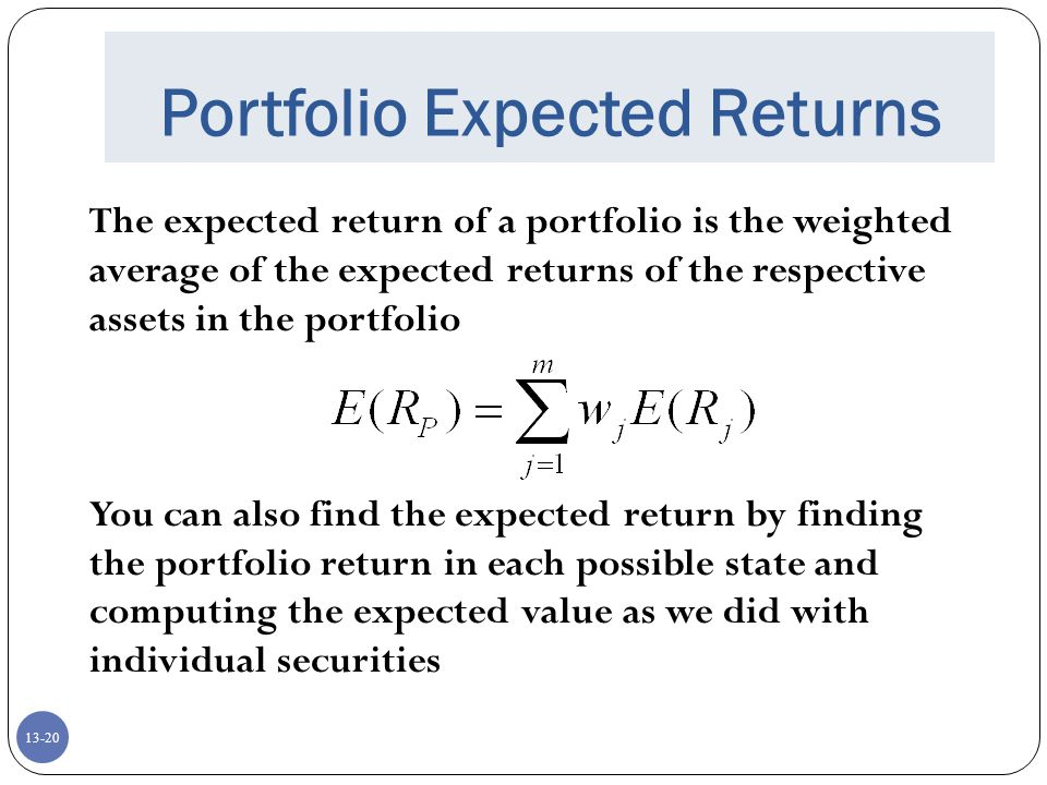13-20 Portfolio Expected Returns The expected return of a portfolio is the weighted average of the expected returns of the respective assets in the portfolio You can also find the expected return by finding the portfolio return in each possible state and computing the expected value as we did with individual securities