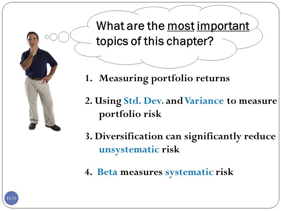 13-75 1.Measuring portfolio returns 2.Using Std. Dev.