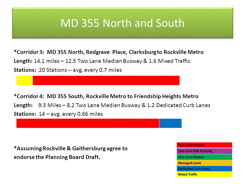 MD 355 North and South *Corridor 3: MD 355 North, Redgrave Place, Clarksburg to Rockville Metro Length: 14.1 miles – 12.5 Two Lane Median Busway & 1.6