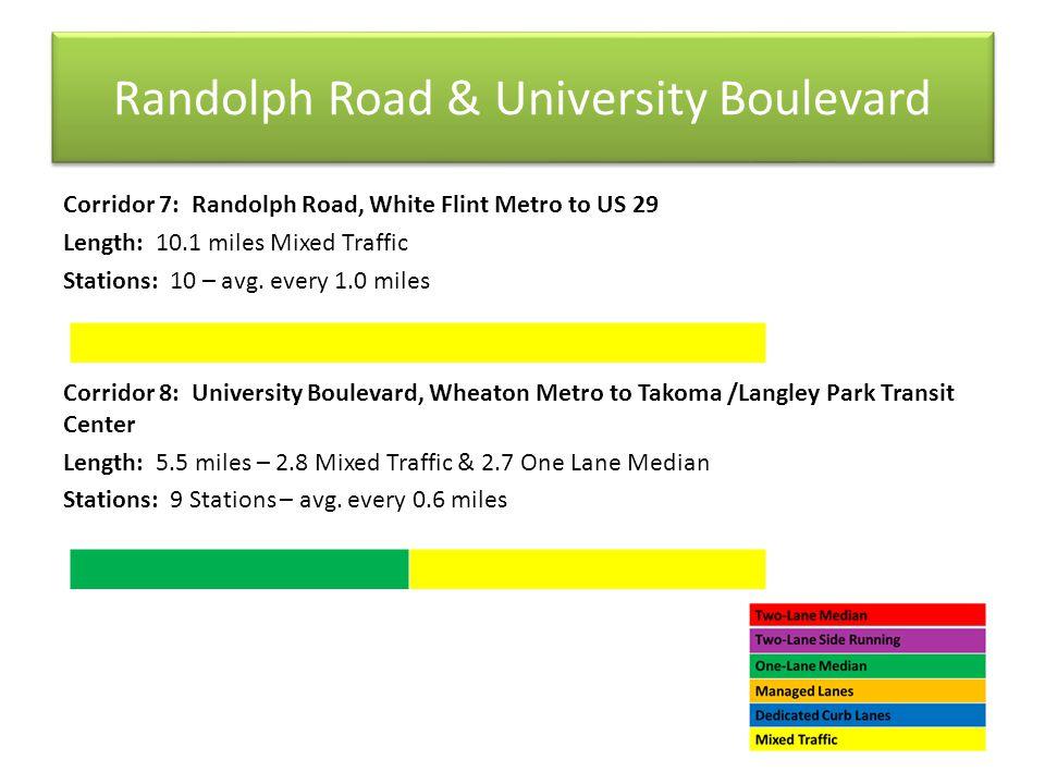 Randolph Road & University Boulevard Corridor 7: Randolph Road, White Flint Metro to US 29 Length: 10.1 miles Mixed Traffic Stations: 10 – avg.