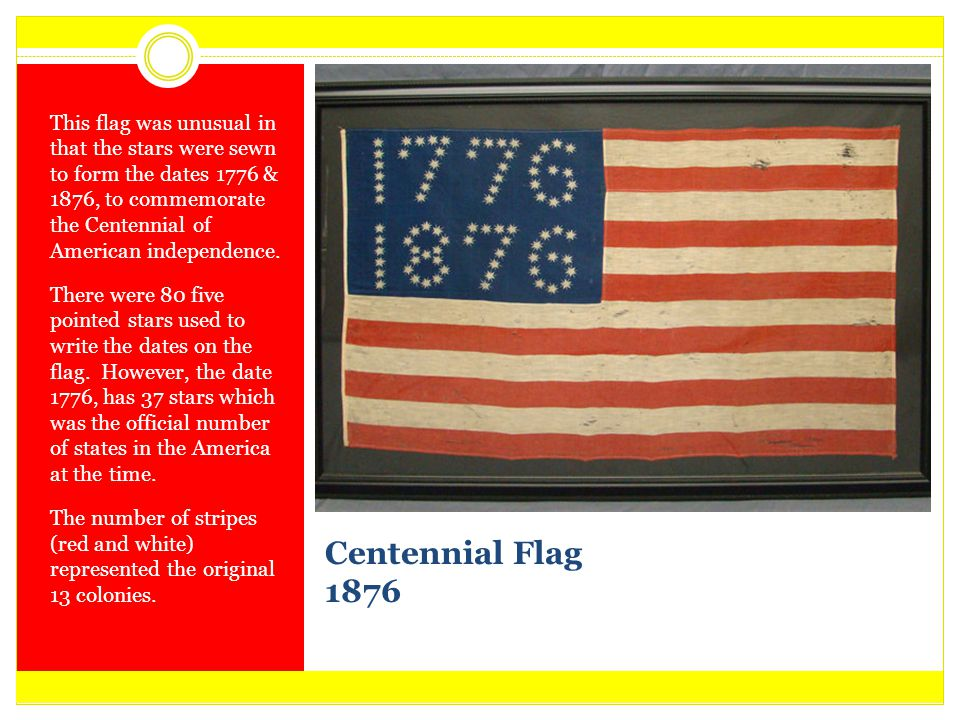 Centennial Flag 1876 This flag was unusual in that the stars were sewn to form the dates 1776 & 1876, to commemorate the Centennial of American indepe