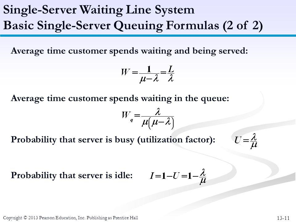 13-11 Copyright © 2013 Pearson Education, Inc. Publishing as Prentice Hall Average time customer spends waiting and being served: Average time custome