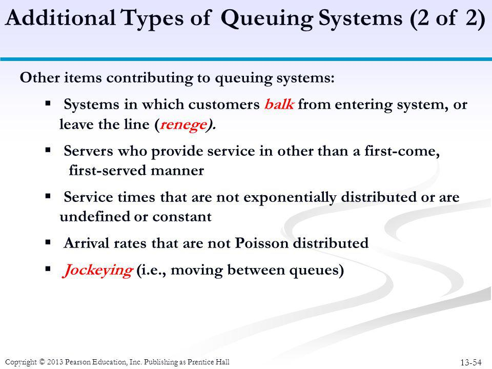 13-54 Copyright © 2013 Pearson Education, Inc. Publishing as Prentice Hall Other items contributing to queuing systems:  Systems in which customers b