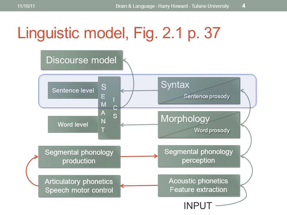 Linguistic model, Fig. 2.1 p. 37 11/16/11Brain & Language - Harry Howard - Tulane University 4 Discourse model Syntax Sentence prosody Morphology Word