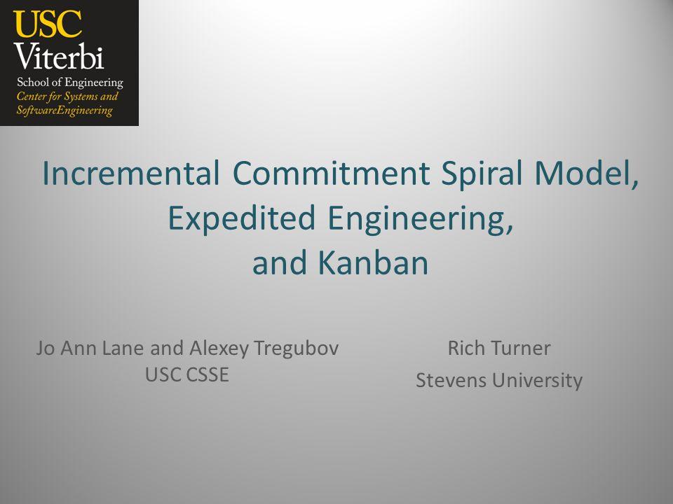 Incremental Commitment Spiral Model, Expedited Engineering, and Kanban Jo Ann Lane and Alexey Tregubov USC CSSE Rich Turner Stevens University