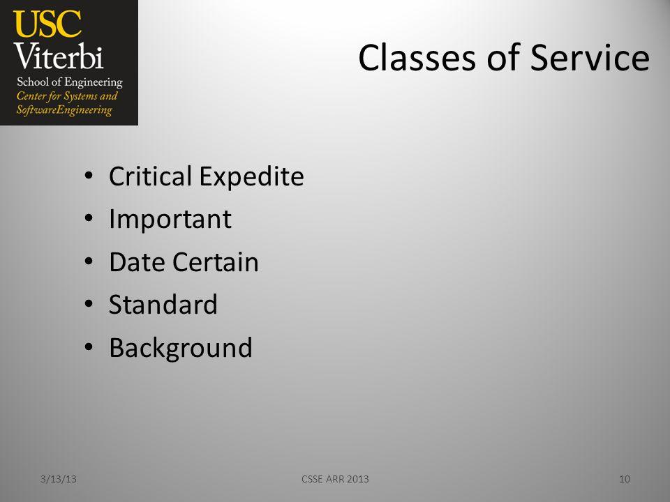 Classes of Service Critical Expedite Important Date Certain Standard Background 3/13/13CSSE ARR 201310