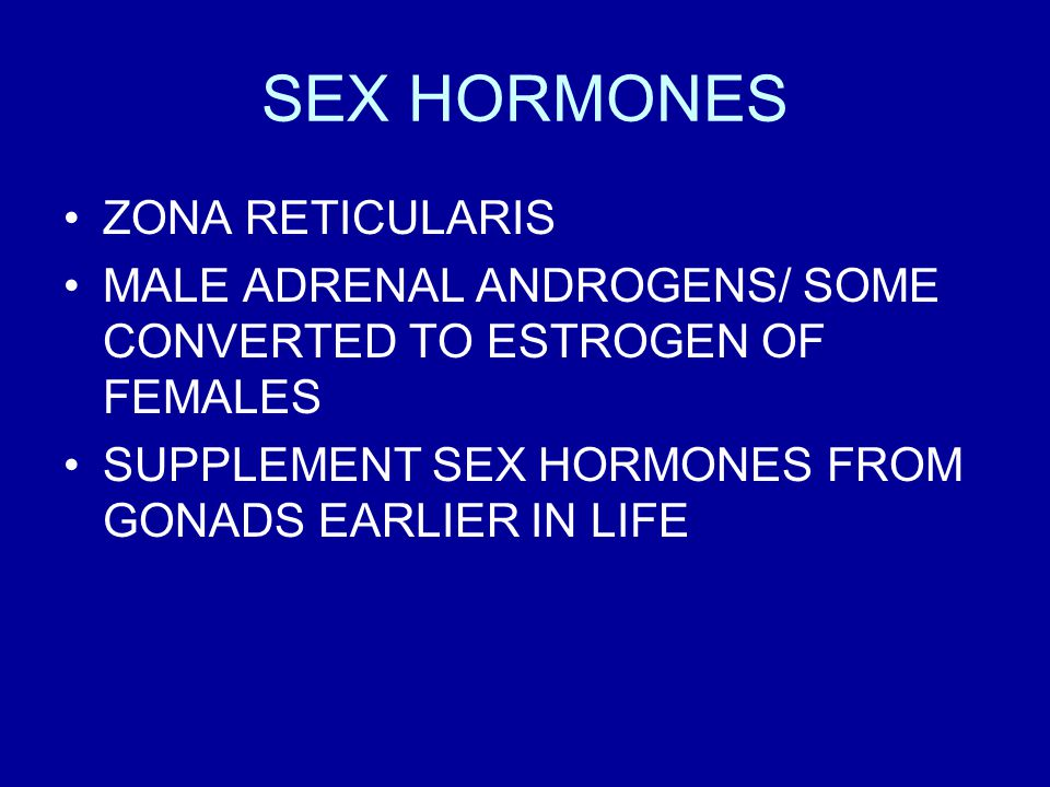 SEX HORMONES ZONA RETICULARIS MALE ADRENAL ANDROGENS/ SOME CONVERTED TO ESTROGEN OF FEMALES SUPPLEMENT SEX HORMONES FROM GONADS EARLIER IN LIFE