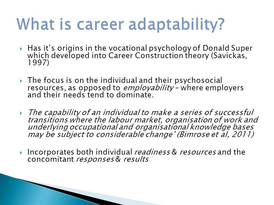  To understand career adaptability as a means of developing student centred approaches to employability  To consider the value of career adaptability as a way of HE career services targeting their work and resources  To contribute to current research in exploring possible applications of the career adaptabilities measure in HE career services  To consider the value that the concept, and the questionnaire, could have for your own institutional context  Next step: Pilot projects in UK HE institutions
