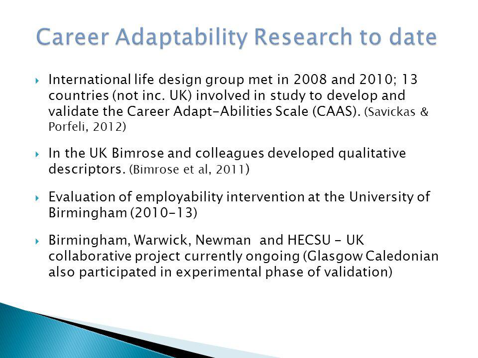  Collaborative project with aim of validating CAAS for use in UK context  HEA bid unsuccessful  Project scaled down and work continued  US version of CAAS adapted to UK context  UK version shown to fit four factor model and to correlate with Trait Emotional Intelligence (Cooper & Petrides, 2010)