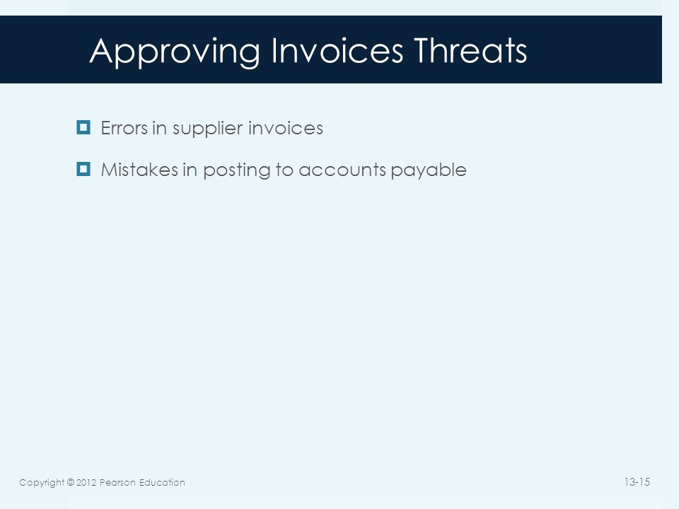 Approving Invoices Threats  Errors in supplier invoices  Mistakes in posting to accounts payable Copyright © 2012 Pearson Education 13-15
