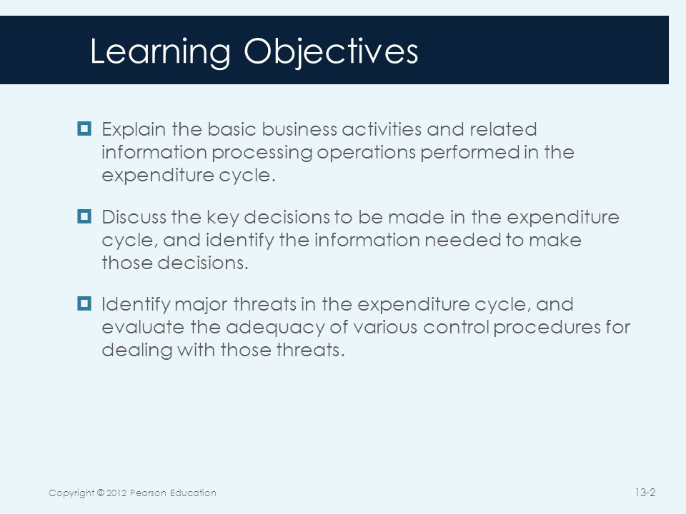 The Expenditure Cycle Copyright © 2012 Pearson Education 13-3