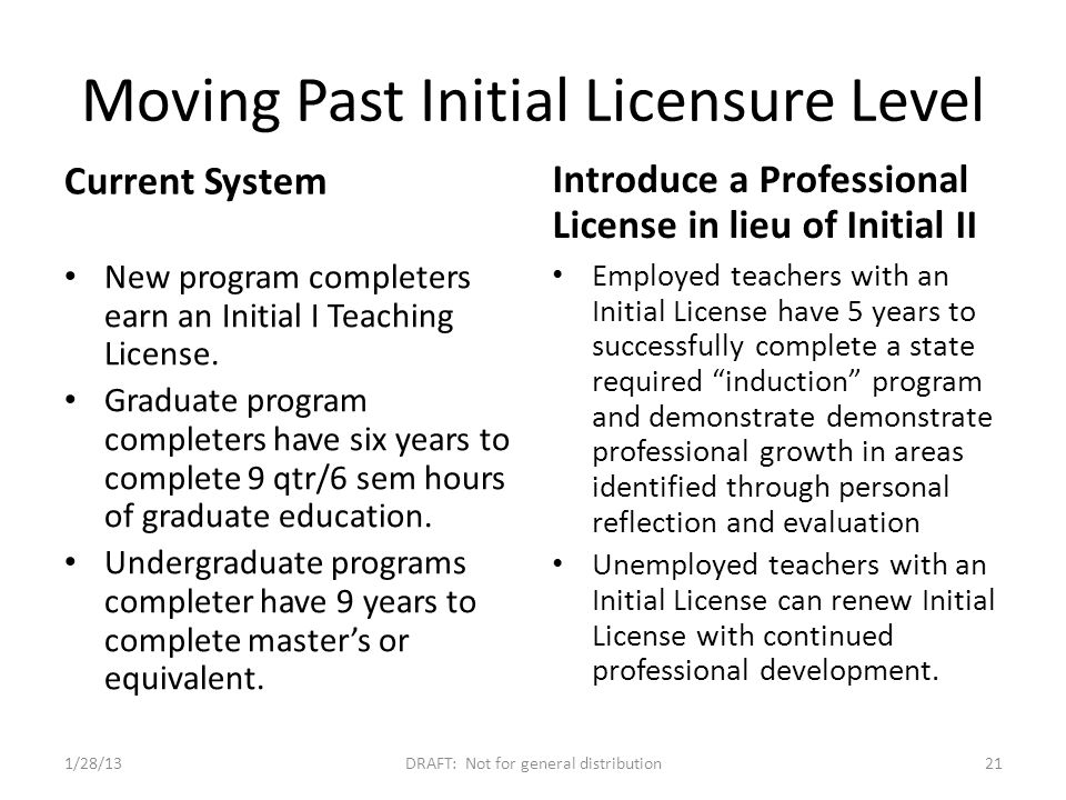 Moving Past Initial Licensure Level Current System New program completers earn an Initial I Teaching License.