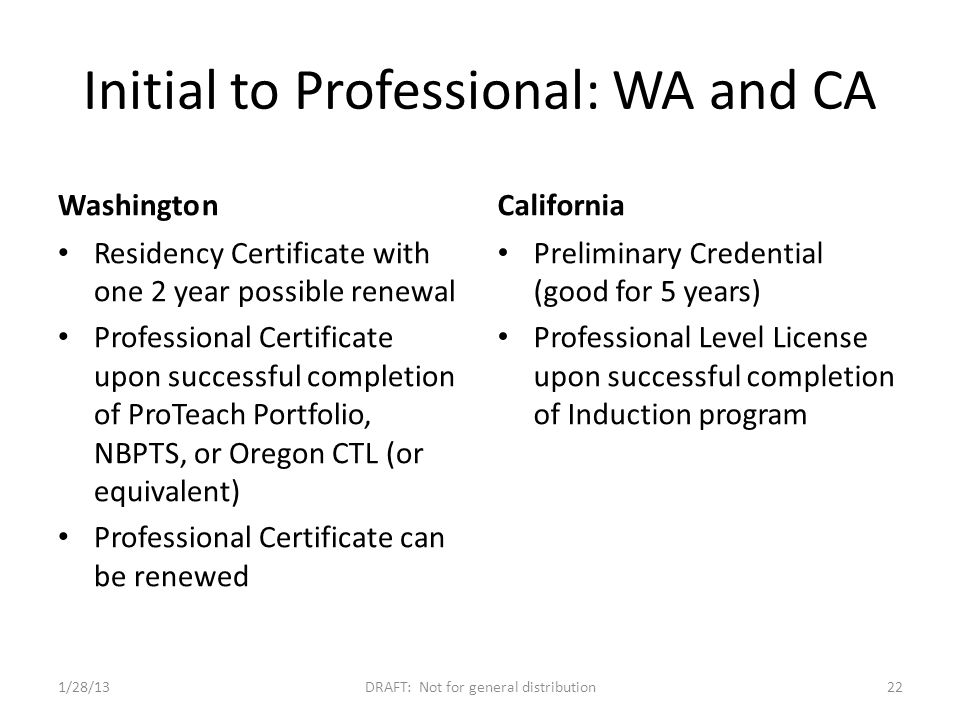 Initial to Professional: WA and CA Washington Residency Certificate with one 2 year possible renewal Professional Certificate upon successful completion of ProTeach Portfolio, NBPTS, or Oregon CTL (or equivalent) Professional Certificate can be renewed California Preliminary Credential (good for 5 years) Professional Level License upon successful completion of Induction program 1/28/13DRAFT: Not for general distribution22