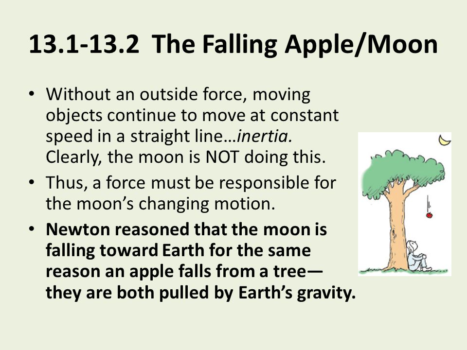 13.1-13.2 The Falling Apple/Moon Without an outside force, moving objects continue to move at constant speed in a straight line…inertia. Clearly, the