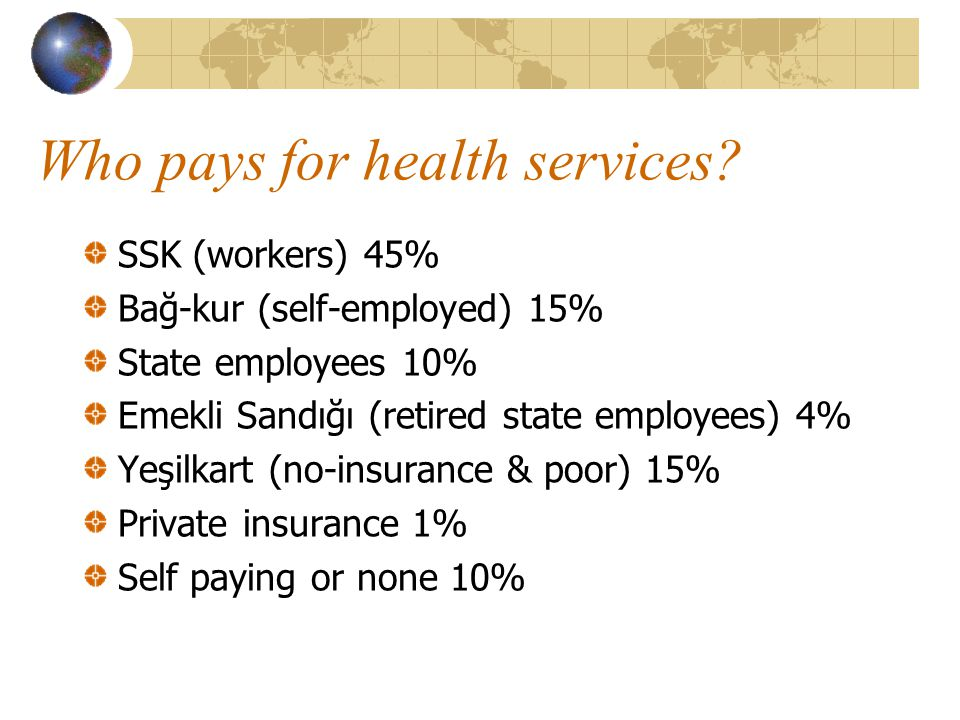Who pays for health services.
