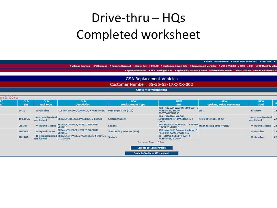Drive-thru – HQs Completed worksheet