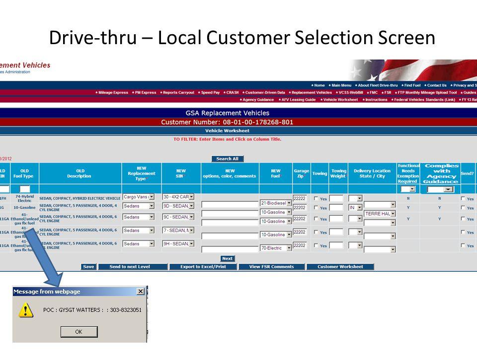 Drive-thru – Local Customer Selection Screen