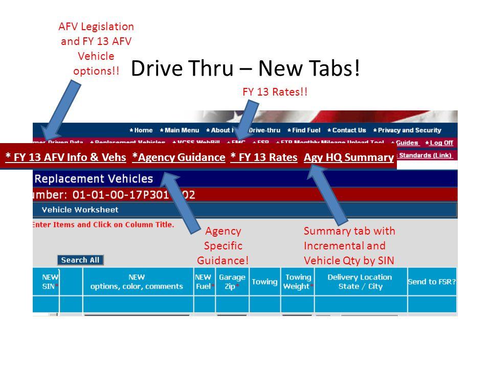 Drive Thru – New Tabs. AFV Legislation and FY 13 AFV Vehicle options!.