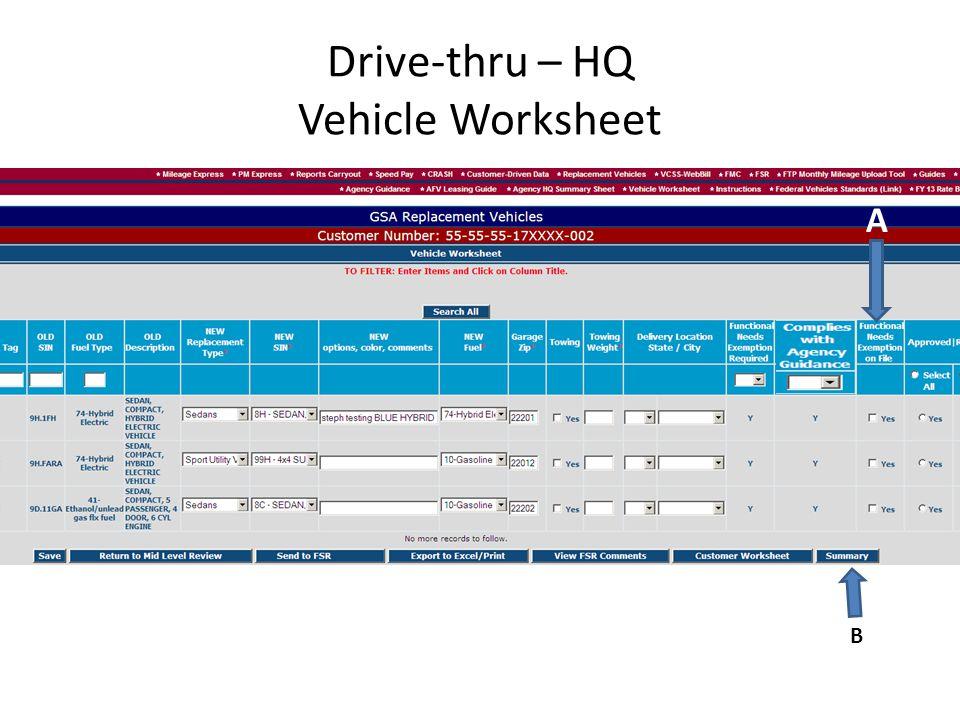 Drive-thru – HQ Vehicle Worksheet A B