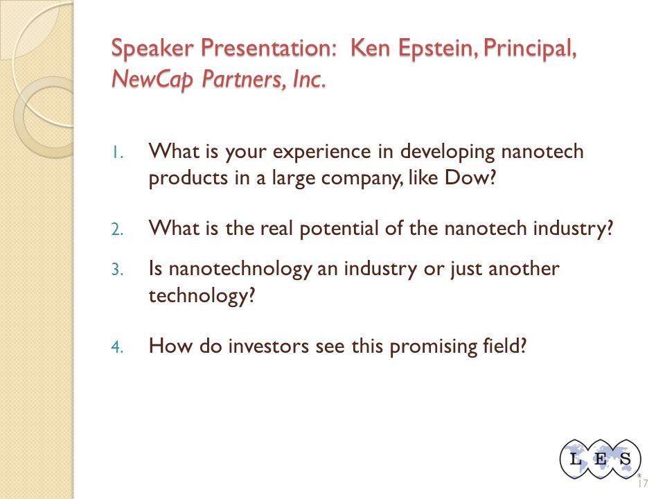 17 Speaker Presentation: Ken Epstein, Principal, NewCap Partners, Inc.