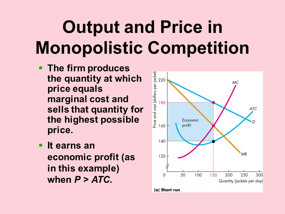 Output and Price in Monopolistic Competition  The firm produces the quantity at which price equals marginal cost and sells that quantity for the highest possible price.