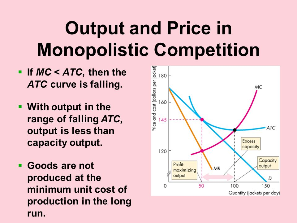 Output and Price in Monopolistic Competition  If MC < ATC, then the ATC curve is falling.
