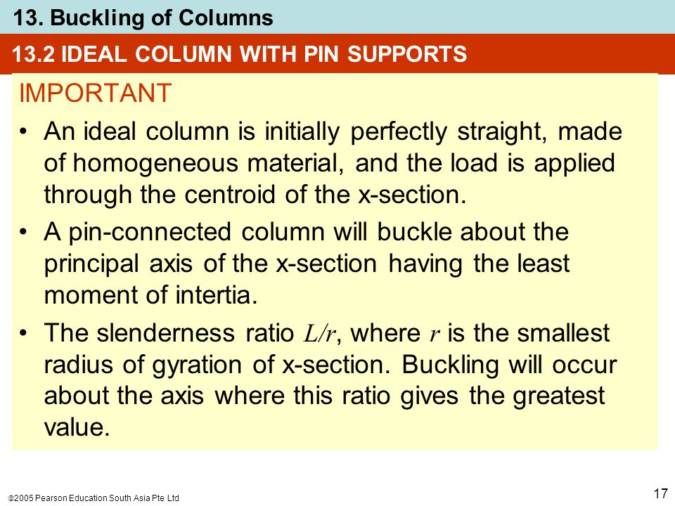  2005 Pearson Education South Asia Pte Ltd 13. Buckling of Columns 17 13.2 IDEAL COLUMN WITH PIN SUPPORTS IMPORTANT An ideal column is initially perf