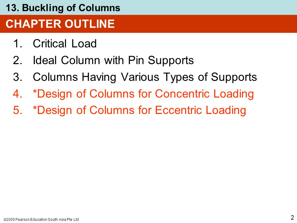  2005 Pearson Education South Asia Pte Ltd 13. Buckling of Columns 2 CHAPTER OUTLINE 1.Critical Load 2.Ideal Column with Pin Supports 3.Columns Havin